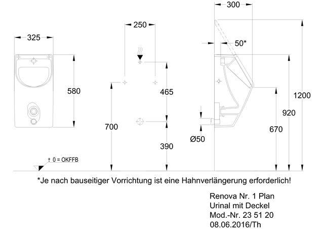 Renova Nr1 Plan Urinal Mit Deckel Ihr Sanitärinstallateur Aus